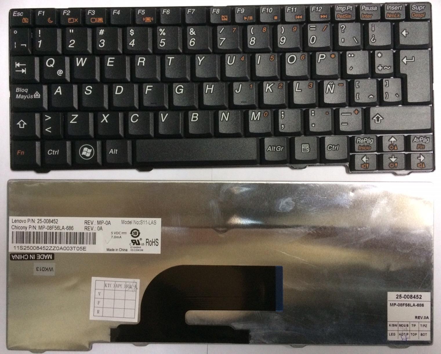 Teclado Español Lenovo  Teclado Lenovo S10-2 S11 (25-008452, S11-LAS)
