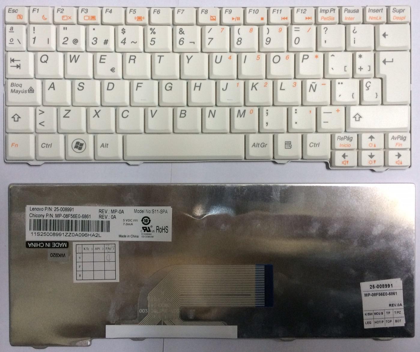 Teclado Español Blanco Lenovo S10-2 Serie (25-008991, S11-SPA)